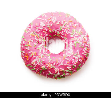 Pink donut with colorful sprinkles isolated on white background - Stock Image