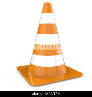 Single Traffic Cone, orange. 3d Render. - Stock Image