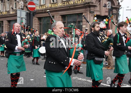 The Fianna Padraig Pipe Band At The Liverpool St.Patrick's Day Parade. - Stock Image
