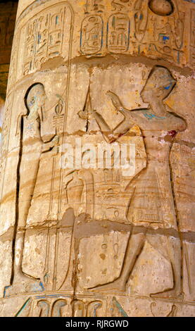 Hypostyle Hall; The Ramasseum memorial temple (or mortuary temple) of Pharaoh Rameses II (c. 1303 BC - 1213 BC). located in the Theban necropolis in Upper Egypt, across the River Nile from the modern city of Luxor. - Stock Image