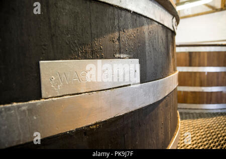 Traditional Wooden Oregon pine Wash back in Bruichladdich Distillery - Stock Image