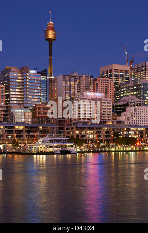 Darling Harbour Sydney at dusk - Stock Image