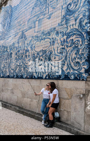 Igreja do Carmo Church, tourists selfie, Azulejos,  Porto , Portugal, - Stock Image