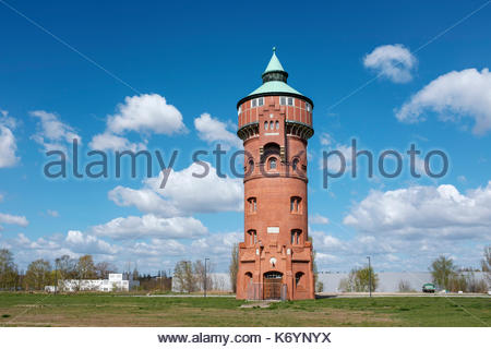 Historic water tower from the former Gaswerks Mariendorf (Mariendorf Gas Works), built between 1900 und 1901, Berlin, Germany - Stock Image