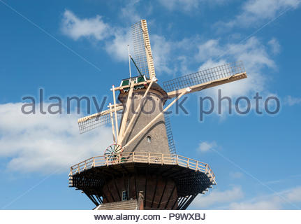 Delft The Netherlands Molen de Roos Windmill Corn mill dating from 1679. - Stock Image