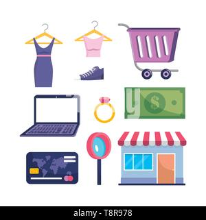 set of laptop technology with clothes and market sale with credit card and bill vector illustration - Stock Image