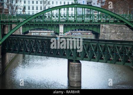 Zollamtssteg Arch Bridge with Zollamtsbrücke Truss Bridge - Stock Image