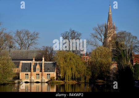 Minnewater in Bruges, Belgium - Stock Image