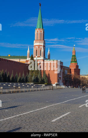 Nikolskaya tower of Moscow Kremlin, Red square, Moscow, Russia - Stock Image