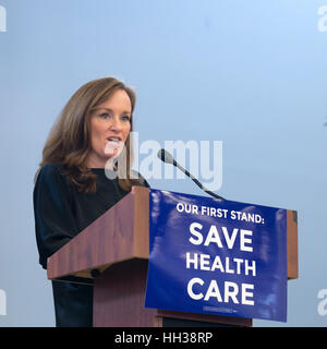 Westbury, USA. January 15, 2017. Representative Kathleen Rice (D-NY4) is speaking at the 'Our First Stand' - Stock Image