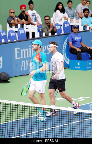 Pune, India. 5th January 2019. Luke Bambridge and Jonny O'Mara in action in the doubles finals at Tata Open Maharashtra in Pune, India. - Stock Image