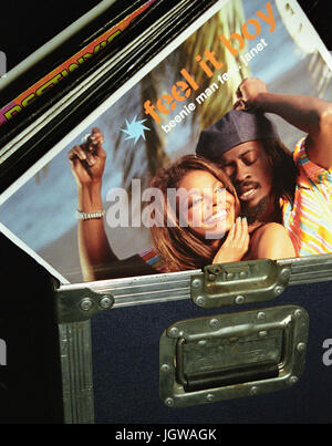 A djs record box at Club Quad in Kingston, Jamaica. - Stock Image