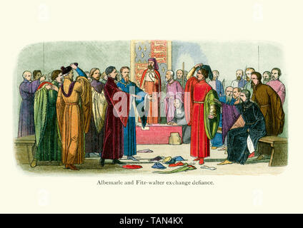 The lords rage as lord Fitzwalter accuses the Duke of Albemarle with the murder of Gloucester. Split in two, the house of lords exchange defiance by t - Stock Image