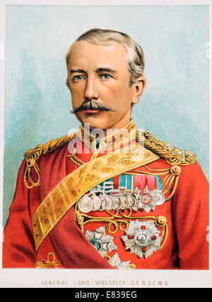 Lithograph General Lord Sir Garnet Wolseley G C B G C M G circa 1885 - Stock Image