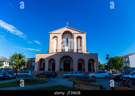 Parrocchia Santo Cuore di Gesu' - Sacred Heart of Jesus church. Centre of Jesolo, Italy. - Stock Image