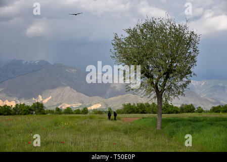 Srinagar, Jammu and Kashmir, India. 18th Apr, 2019. Kashmiri men seen walking through an open field during a sunny spring day on the outskirts of Srinagar Kashmir. Credit: Idrees Abbas/SOPA Images/ZUMA Wire/Alamy Live News - Stock Image