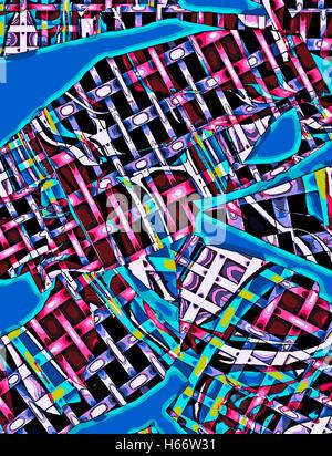 City Crossings. Original drawing  digitally adjusted. - Stock Image