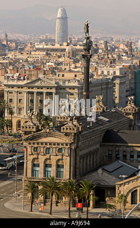 Barcelona Columbus Monument Passeig Maritime Tower Agra by Jean Nouvel in the background  - Stock Image