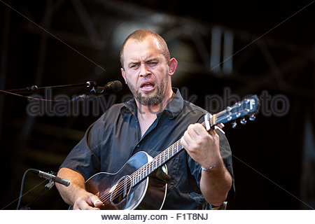 Mountain Men : guitar player and singer Mr Mat performing live - Stock Image