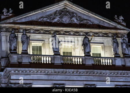 Somerset House decorations at night in the Strand, London UK - Stock Image
