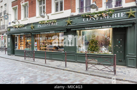 Exterior of boulangerie / patisserie 'Brier' on Rue Esquermoise in Lille, France - Stock Image