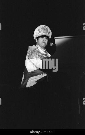 Elton John performing in concert during his 'Jump Up Tour'. 5th December 1982. - Stock Image