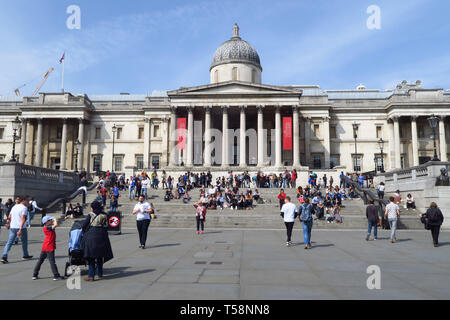 The National Gallery viewed from Trafalgar Square, London - Stock Image