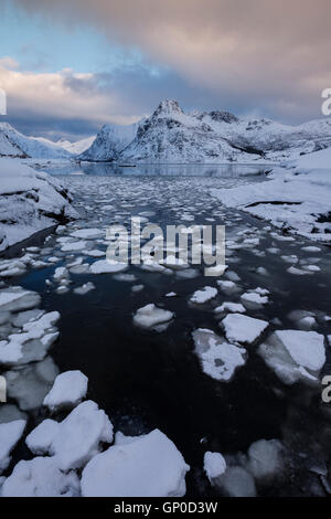 Ice floats in water at Flakstadpollen, Flakstadøy, Lofoten Islands, Norway - Stock Image