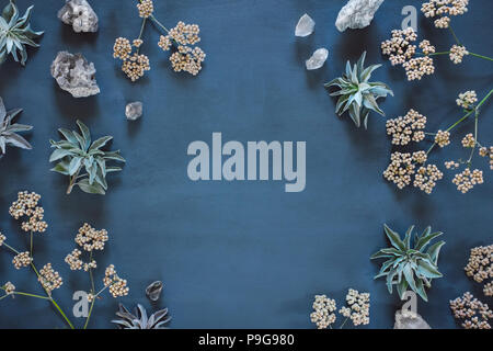 White Sage, Quartz and Native Flowers with Space for Copy - Stock Image