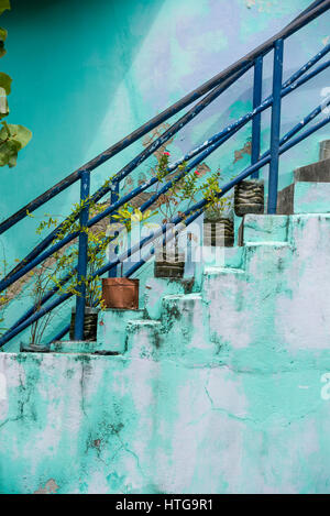 Flower pots on colorful stairs in the Maldives - Stock Image
