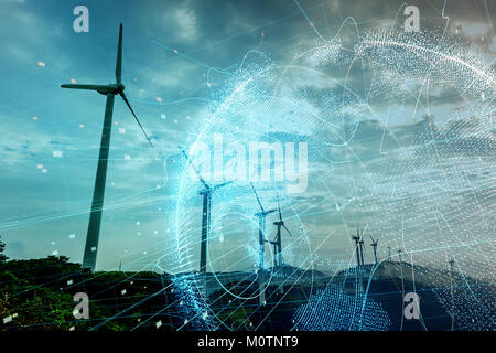 Wind power station and global communication concept. - Stock Image