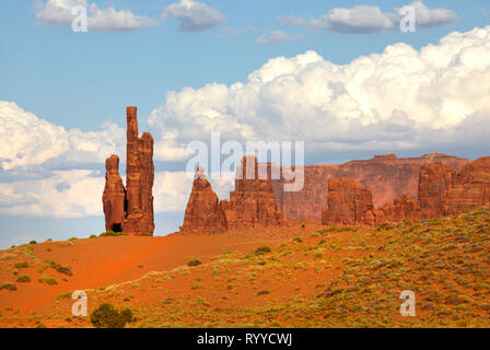 The Totem Pole Rock Formation, Monument Valley, Arizona, USA - Stock Image