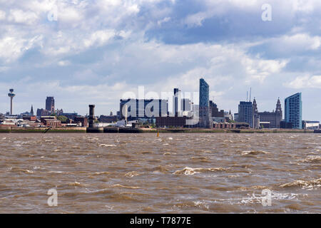 Liverpool skyline from the river Mersey. - Stock Image