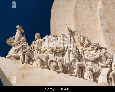 Portugal, Lisbon, Belem, Padrao dos Deccobrimentos, the discoveries monument, memorial to seafaring explorers, statues detail - Stock Image