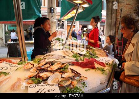 Rialto fish market, Seafood market Venice, Italy - Stock Image