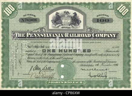 Historic share certificate, Historische Aktie, The Pennsylvana Railroad Company PRR, US-amerikanische Eisenbahngesellschaft, - Stock Image