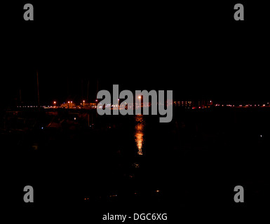 night scene over water fuerteventura - Stock Image