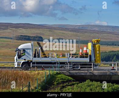 Motorway maintenance vehicle. M6 Southbound carriageway, Shap, Cumbria, England, United Kingdom, Europe. - Stock Image