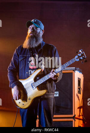 Dominic Aitchison of Mogwai performing live at the Latitude Festival 2018. - Stock Image
