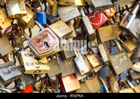 Milan , Italy ,15 January,2018. love padlock keys on the bridge 'padlock of love' onto the railing and to dream that their love will last forever,also - Stock Image