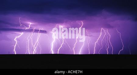 Lightning Panorama - Stock Image