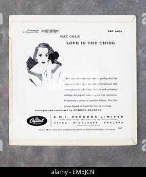 Rear Cover of 'Love is the Thing' 7 inch Vinyl record by Nat King Cole - Stock Image