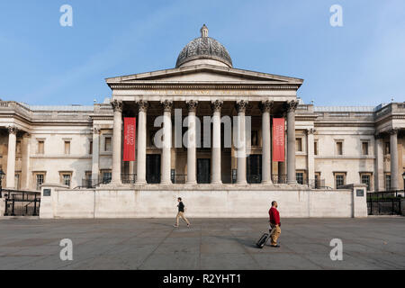 The National Gallery neoclassical building in the City of Westminster, London, exterior view and facade of the museum on Trafalgar Square - Stock Image