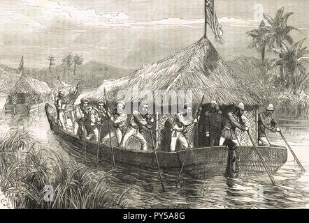 Blue-jackets and marines poling the Perak Expedition up the Perak river, Malaysia. A blockade of the North coast, during the Perak War (1875–76) - Stock Image