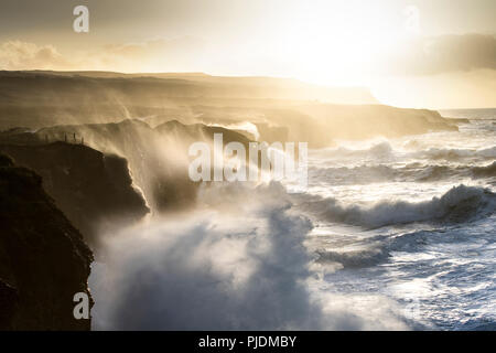 Doolin Cliffs getting hit by giant storm, Doolin, Clare, Ireland - Stock Image