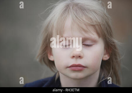 Girl with closed eyes - Stock Image