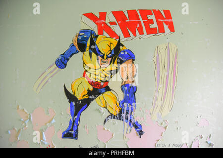 X-men mural on a wall. - Stock Image