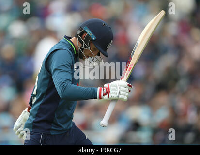 England's Joe Root shows his frustration after losing his wicket during the One Day International match at Emerald Headingley, Leeds. - Stock Image