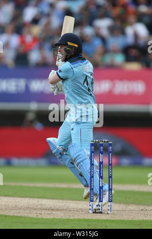 Birmingham, UK. 11th July 2019; Edgbaston, Midlands, England; ICC World Cup Cricket semi-final England versus Australia; Eoin Morgan hits the ball to the boundary for four runs Credit: Action Plus Sports Images/Alamy Live News - Stock Image