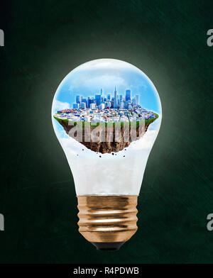 Floating city of San Francisco inside light bulb with copy space. Concept of eco-friendly, energy efficient city and idea of environmental conservatio - Stock Image